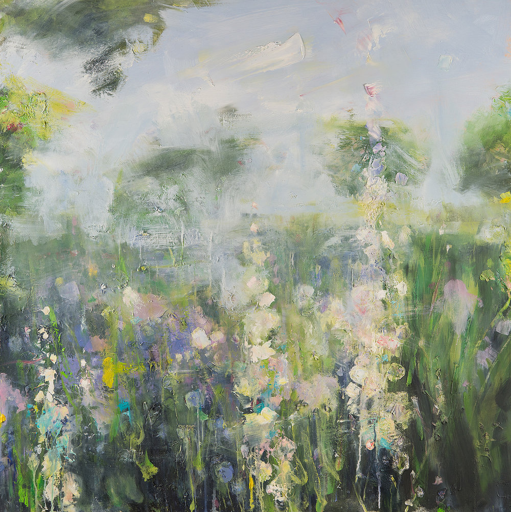 Hollyhocks, Summer Border, Poppy Cottage Garden.  Oil on board. 100 x 100cm  Sold