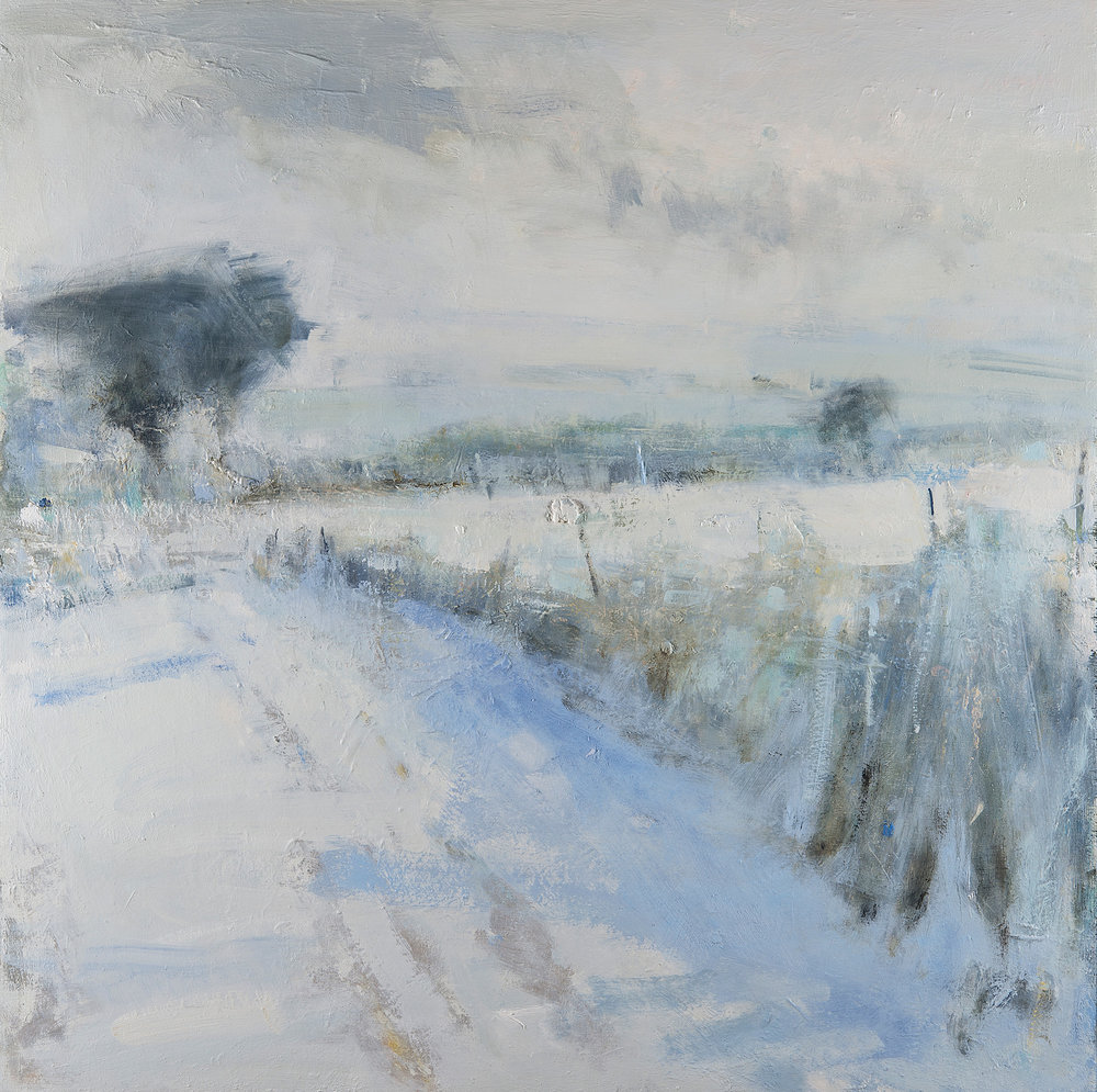 Snow Shadows, Cornish Field.  Oil on board. 100 x 100cm  Sold