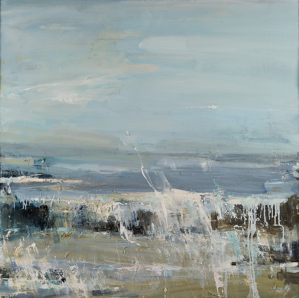 Summer Winds on Gwithian Beach.  Oil on board. 100 x 100cm  Sold