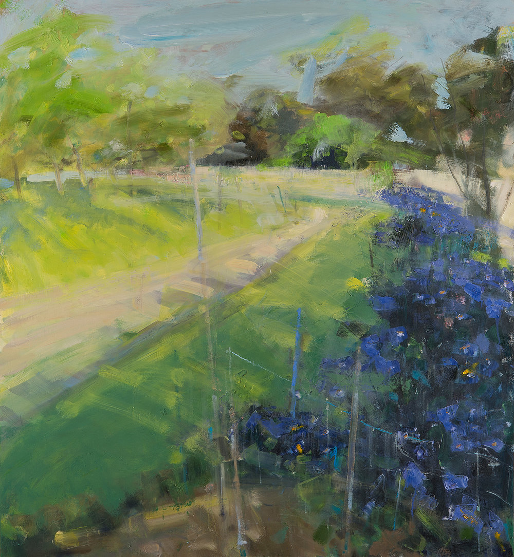 Walled Garden, Trevarno.  Oil on board. 121 x 110cm  Sold