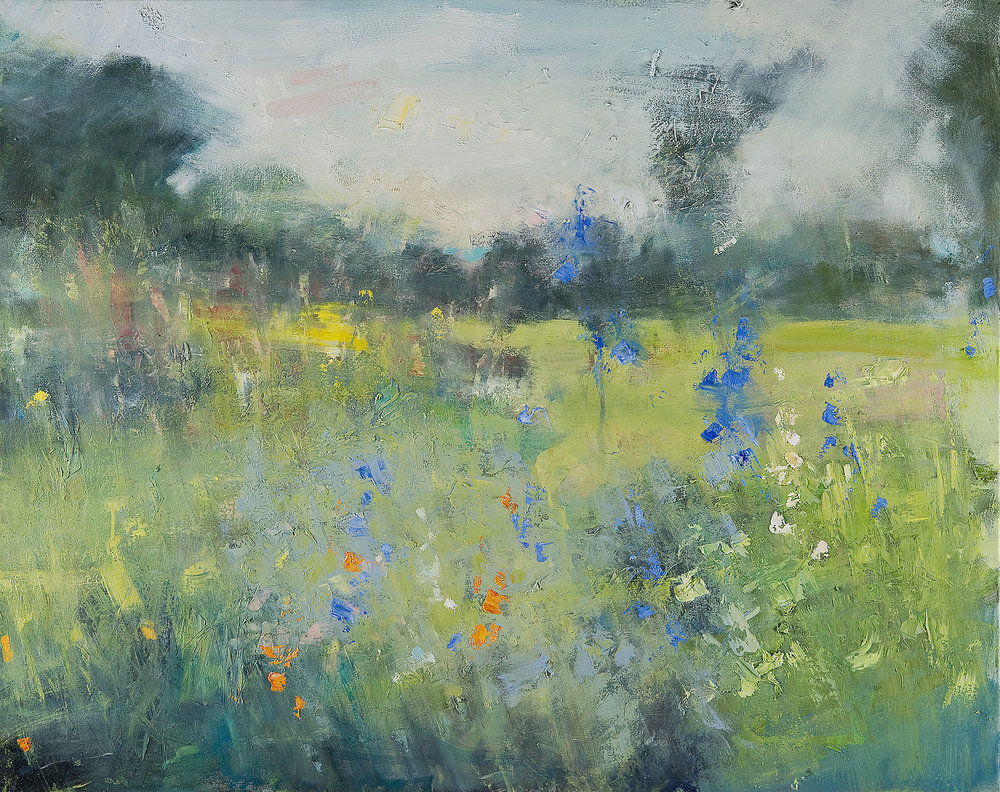 In a Cornish Garden.  Oil on canvas. 97 x 122cm.  Sold