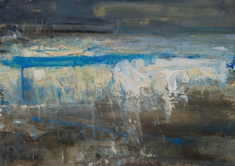 Raging Sea, Winter. Oil on board. 35 x 50cm. Sold