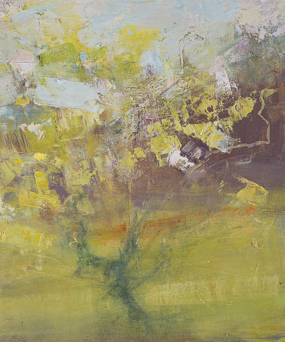 Study in a Cornish Garden II (Triptych). Oil on board. 30 x 25cm. Sold