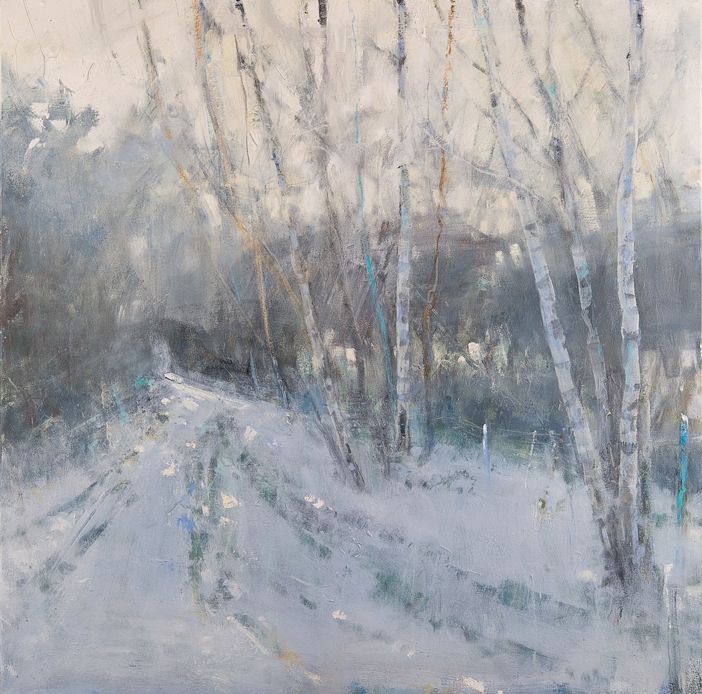 Woodland Walk, Tracks in the Snow.  Oil on canvas. 100 x 100cm.  Sold