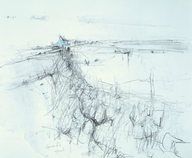 Gurnard's Head Cottages.  Graphite and oil on paper. 38 x 45cm  Sold