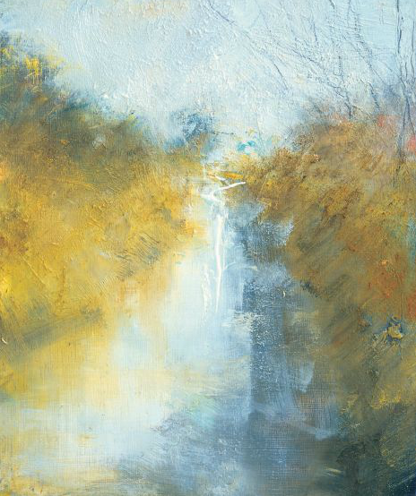 Jerichoe Stream, Autumn.  Oil on board. 25 x 21cm.  Sold