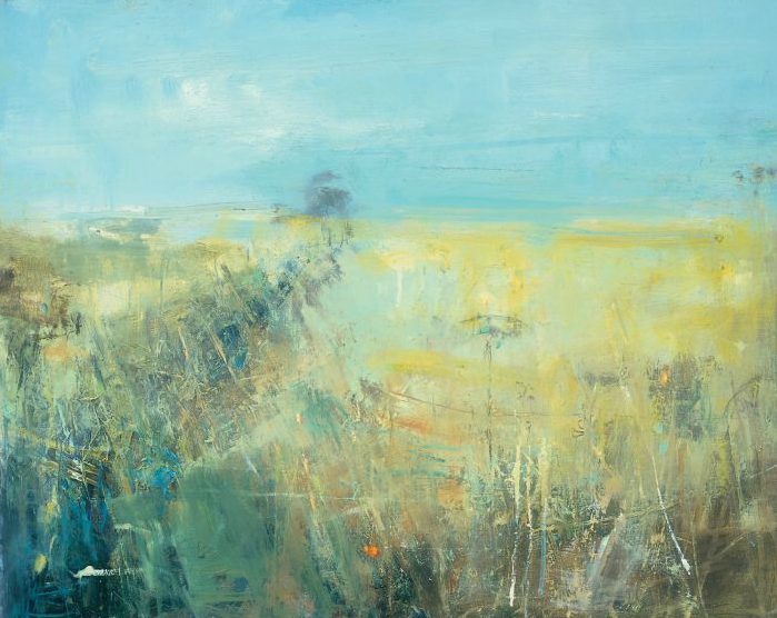 Summer Hedgerow, Fields through the Gwithian Valley.  Oil on board. 63 x 75cm.  Sold