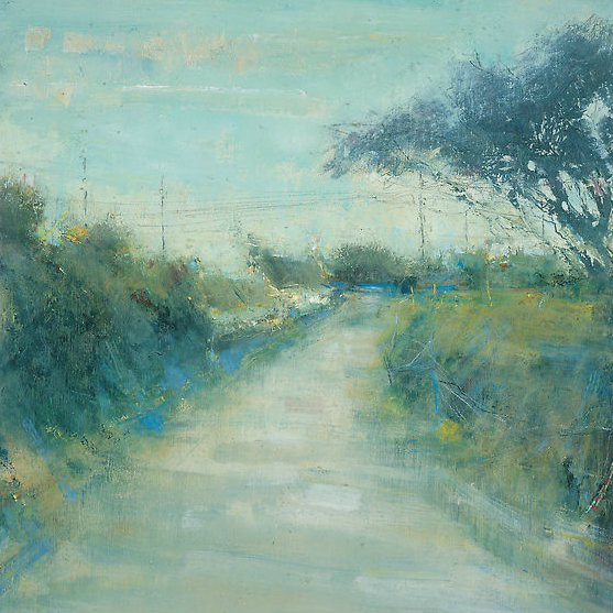 Quiet Village Lane, West Penwith.  Oil on board. 40 x 40cm  Sold