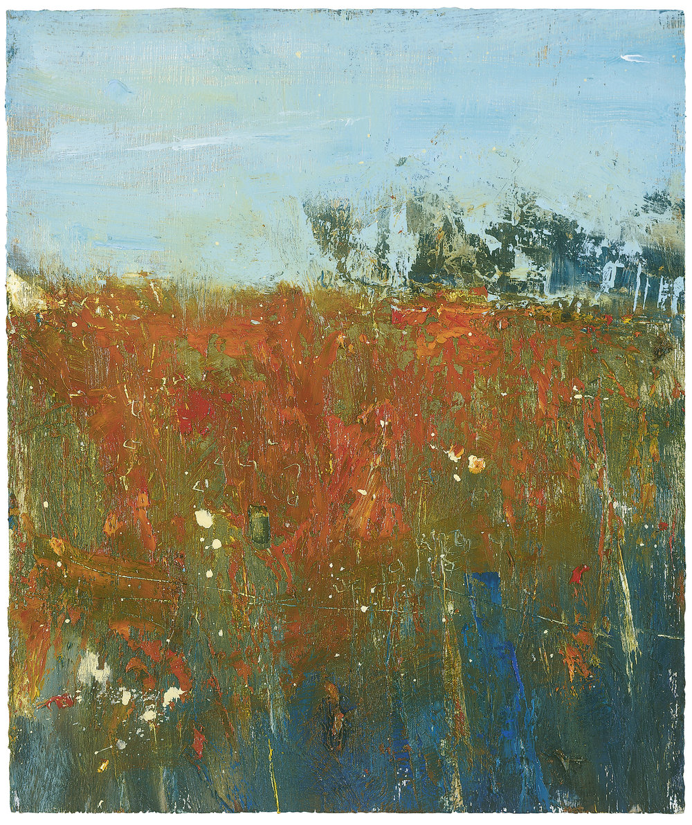 Red Field, Late August.  Oil on Board. 25 x 21cm  Sold