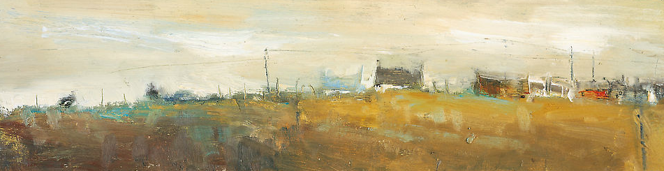 Cottages and Cars near St Just.  Oil on board. 13 x 49cm  Sold