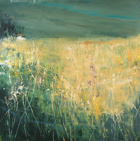 Fields in the Gwithian Valley, Storm Above.  Oil on board. 109 x 107cm  Sold