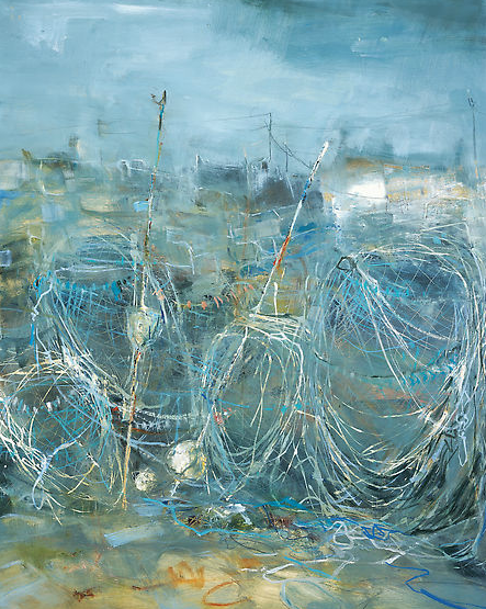Fishing Nets and Lobster Pots.  Oil on board. 87 x 69cm  NFS
