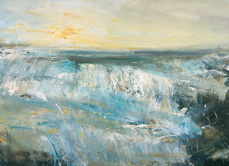 Late Sun and Surf, Gwithian.  Oil on board. 89 x 122cm  Sold