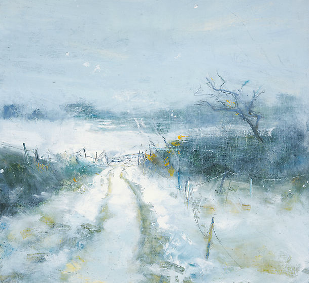 Snow.  Oil on board. 39 x 42cm  Sold
