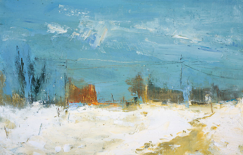 Snow Under Clear Blue Sky.  Oil on board. 21 x 32cm  Sold