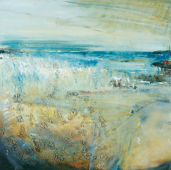 Blue Waves, Godrevy.  Oil on board. 100 x 100cm  Sold