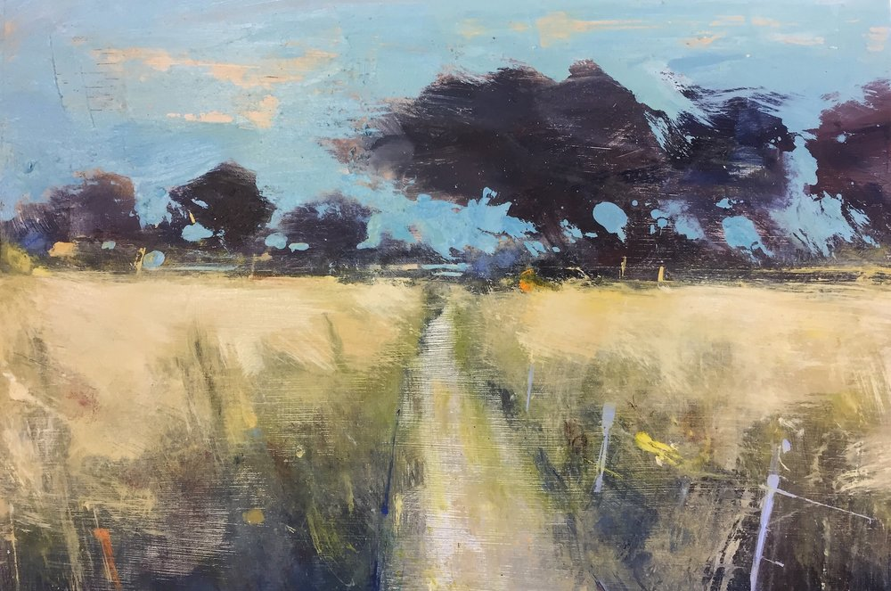 Summer Fields near Tremenheere.  Oil on board. 22 x 30cm.
