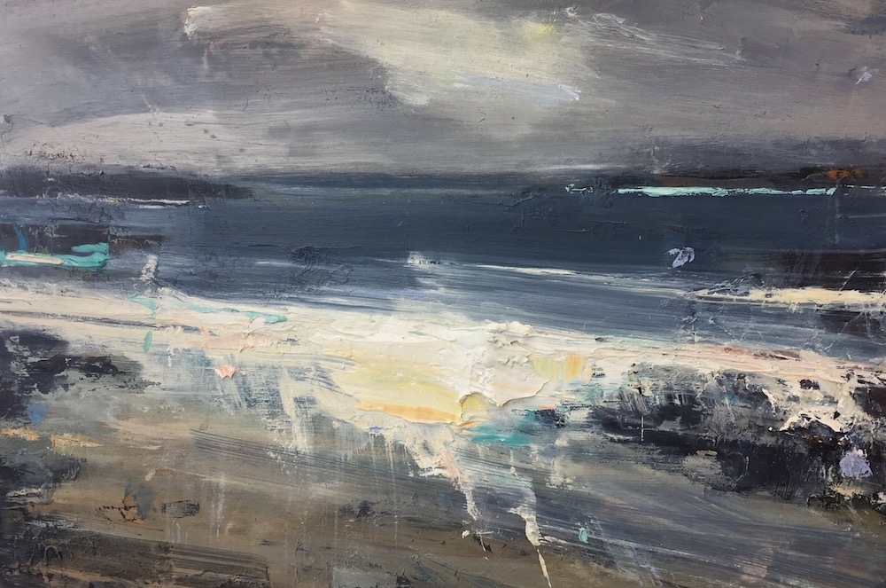 Wild Winds, Sennen. Oil on board. 35 x 40cm