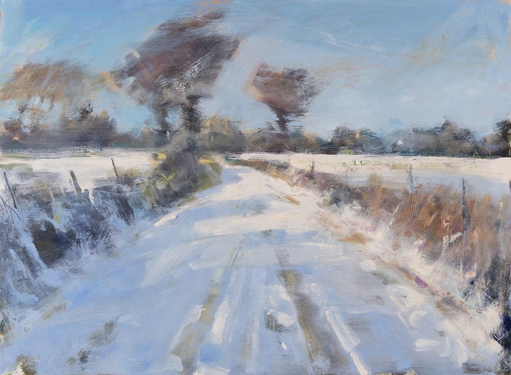 Crisp Winter Sun, Cornish Track.  Oil on board. 52 x 70cm  Sold