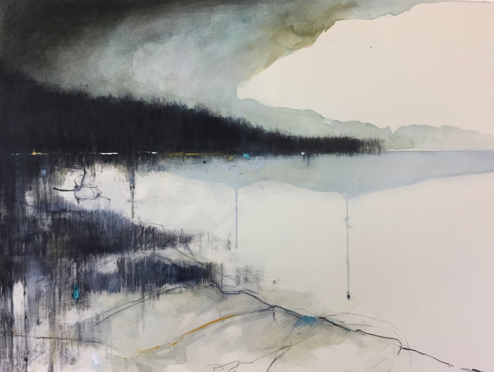 Soft Green Seas, Cape Cornwall.  57 x 77cm. Graphite, watercolour, oil and gesso on paper  Sold