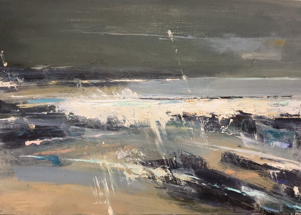 Wild Green Seas, Sennen.  35 x 50cm. Oil on board  Sold