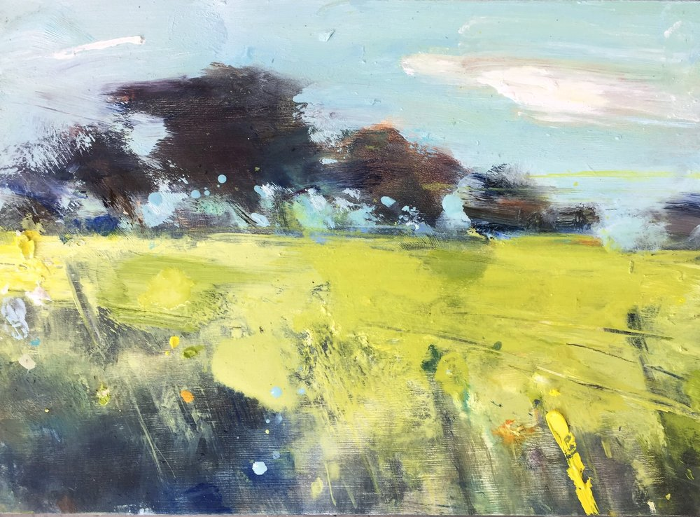 Summer Fields near Ludgvan.  22 x 30cm. Oil on board.  Sold