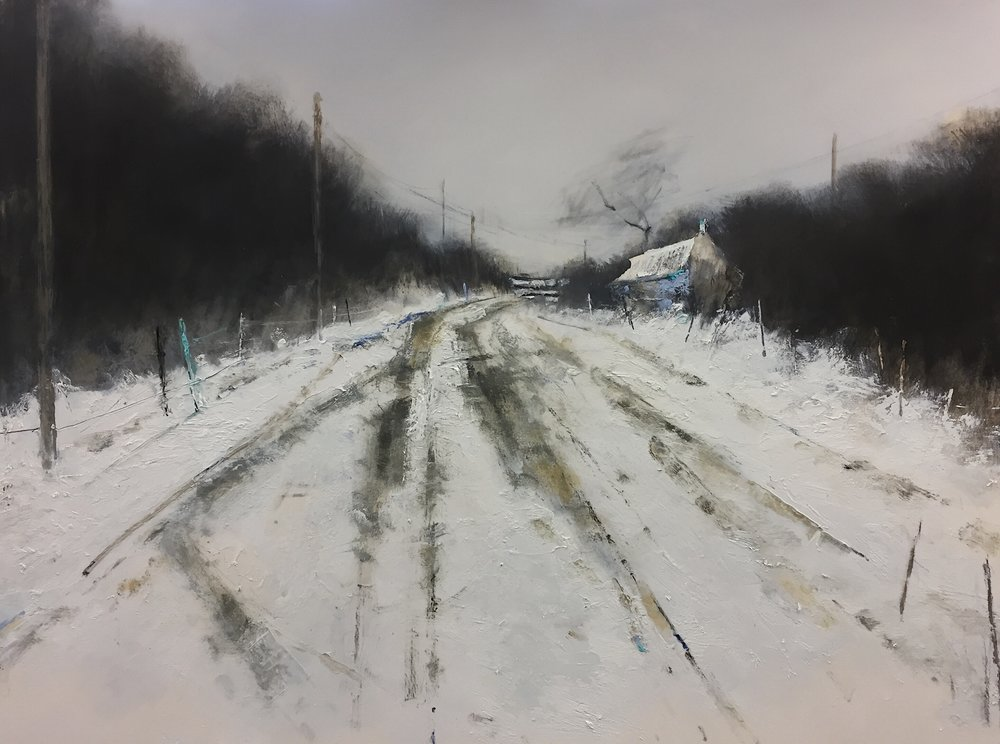 Winter Tracks.  Graphite, gesso and oil on paper. 56 x 76cm.