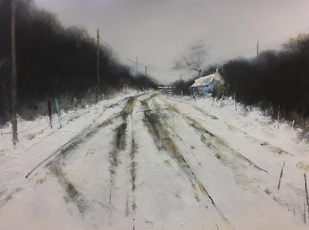 Winter Tracks.  Graphite, gesso and oil on paper. 56 x 76cm.