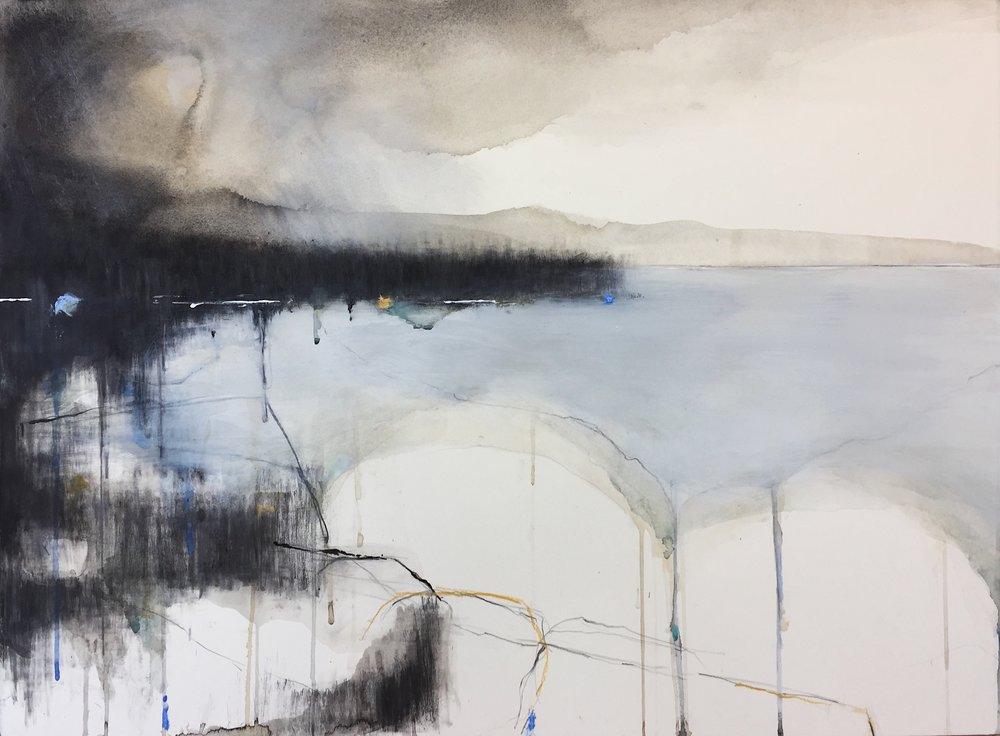 Winter Cove, Cornwall. 56 x 76cm. Graphite, oil, watercolour and gesso on paper.
