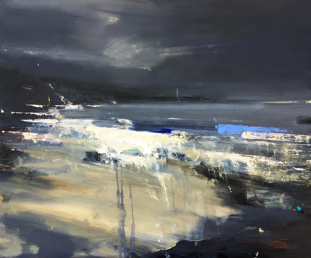 Storm Tides.  Oil on board. 83 x 102cm  Sold