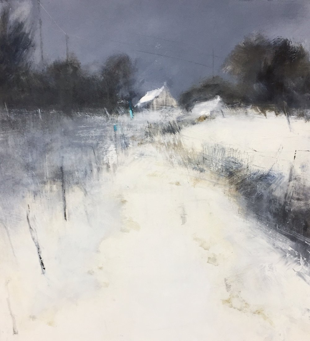 Cornish Cottage in Snow, Oil Study.  Oil and gesso on paper.  Sold