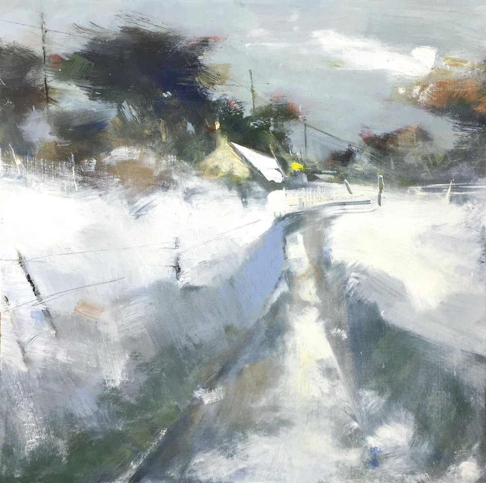 Snow Blanket, Cornish Village.  Oil on board. 44 x 44cm.  Sold
