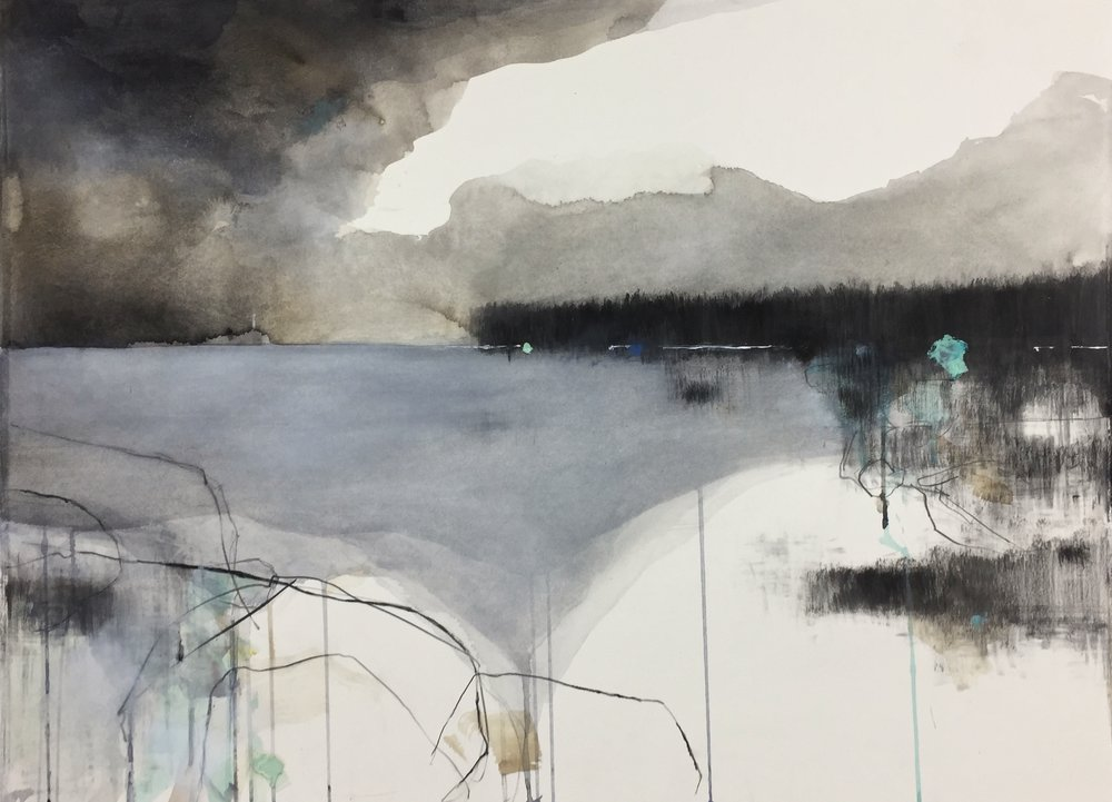 The Lighthouse.  Graphite, oil. watercolour and gesso on paper. 57 x 77cm  Sold
