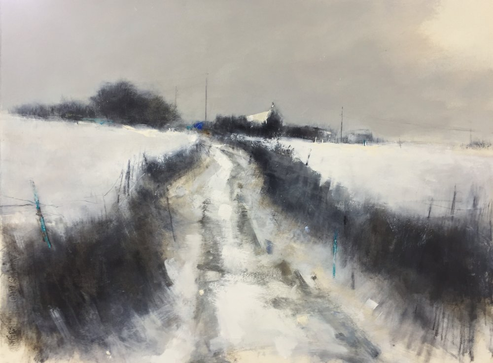 Cornish Cold Snap, March.  Graphite, oil and gesso on paper. 57 x 77cm  Sold