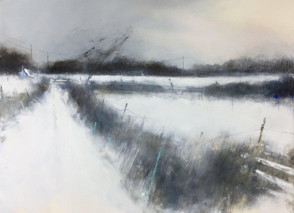 Snow Silence, Cornish Farm.  Graphite, oil, watercolour and gesso on paper. 57 x 77cm  Sold