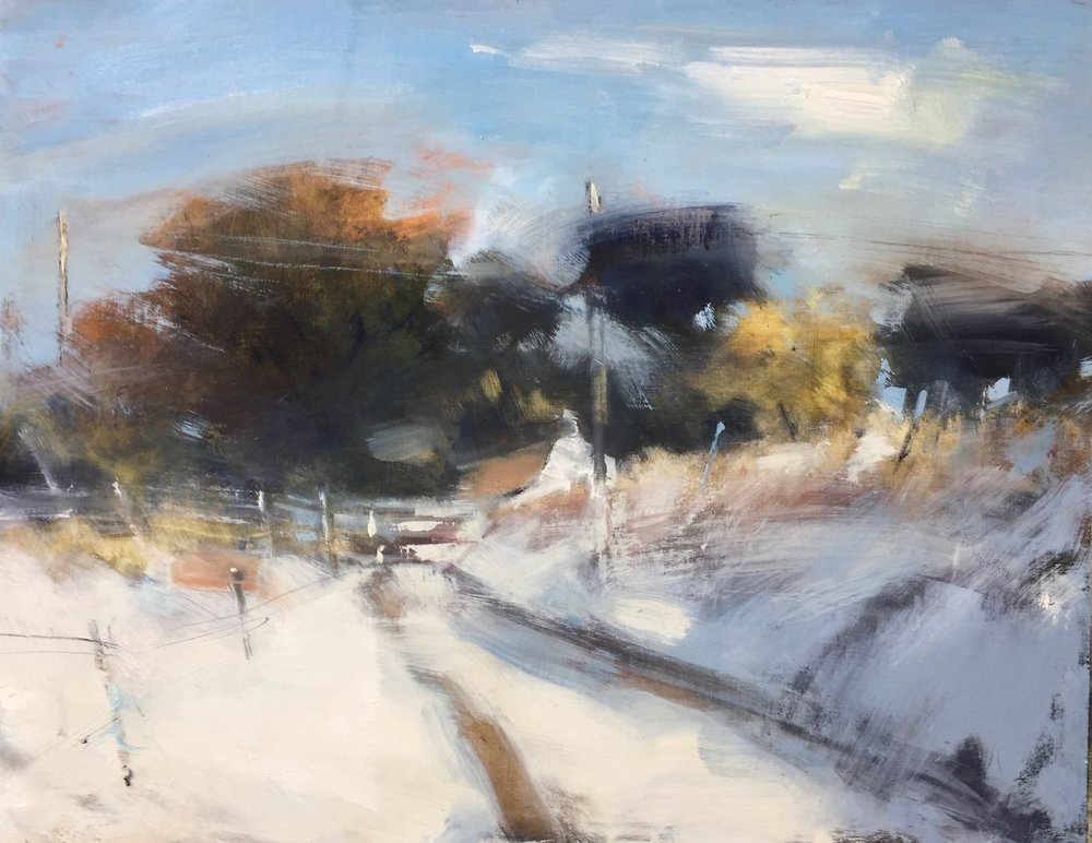 Sun on Fresh Snow, Cornwall.  Oil on board. 47 x 60cm
