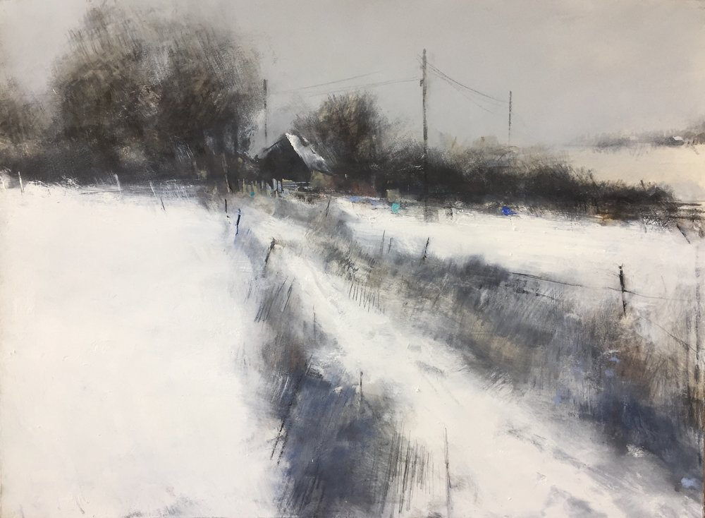 Snowed In, Cornish Farm.  Graphite, oil, watercolour and gesso on paper. 57 x 77cm  Sold