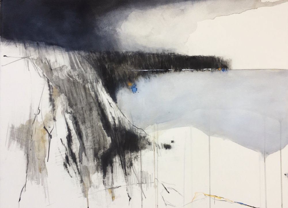 Indigo Clouds II, Nanjizal. 2018. Graphite, watercolour, oil and gesso on paper. 57 x 77cm unframed. £2200 copy.JPG