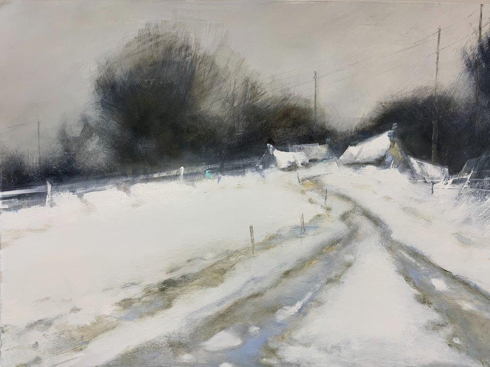 Winter Fences, Cornish Farm.  Graphite, watercolour, oil and gesso on paper. 57 x 77cm  Sold