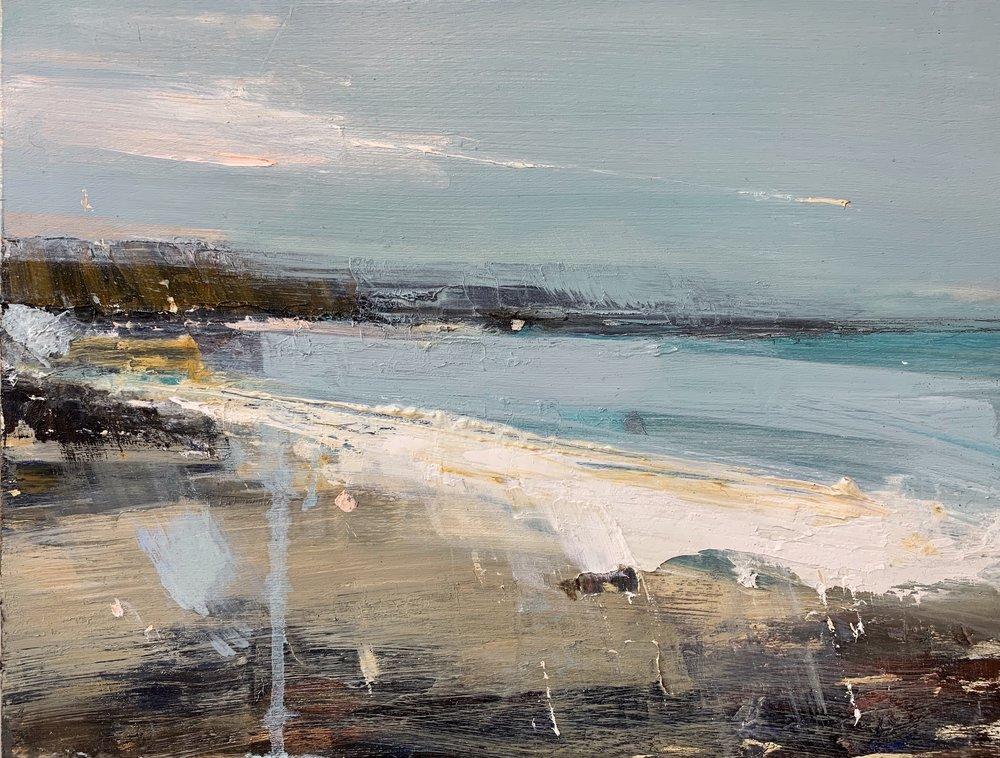 Spring Light, Gwithian Beach.  Oil on board. 30 x 40cm