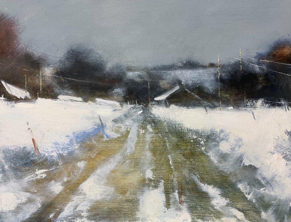 Farm over the Fields, Cornish Winter.  Oil on board. 30 x 40cm