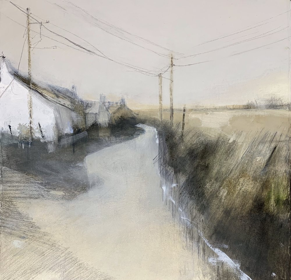 Cottages, West Penwith.  Study. Graphite, oil, gesso and gouache on paper. 32 x 34cm