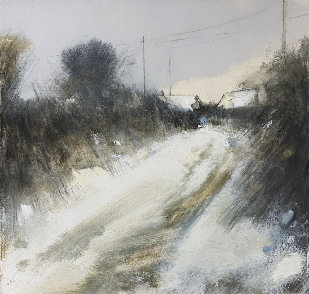 Lane in Snow, West Cornwall.  Study. Graphite, oil, gesso and gouache on paper. 32 x 34cm