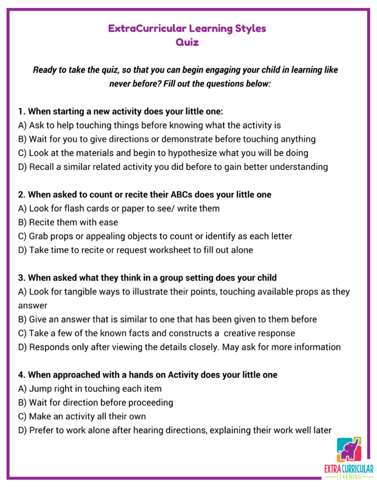 ExtraCurricular Learning Styles Quiz Ashlee Chesny – Learning Styles Worksheet