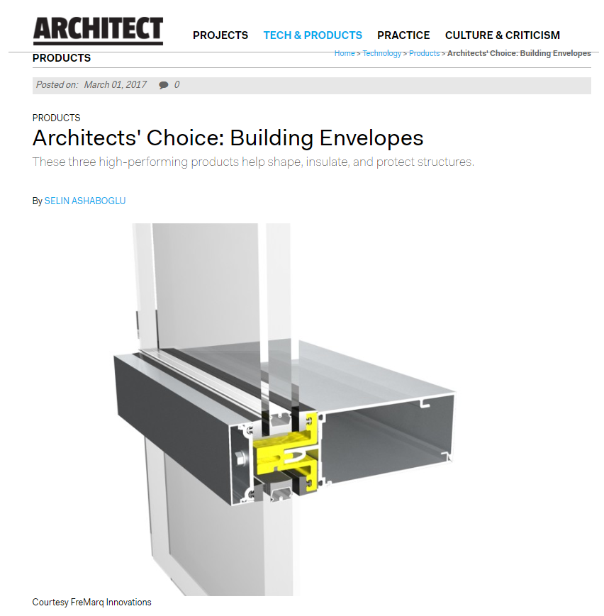 Architect Newspaper | Fremarq Innovations