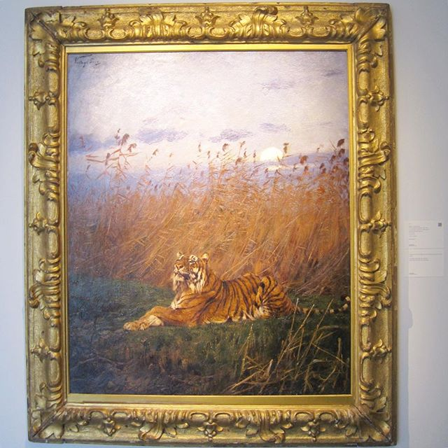 "Proud to see our 17th c. Italian frame on view now at @sothebys European Art exhibit.  Geza Vastag ""A Tiger Among Rushes in the Moonlight""  50 1/2 X 42"""