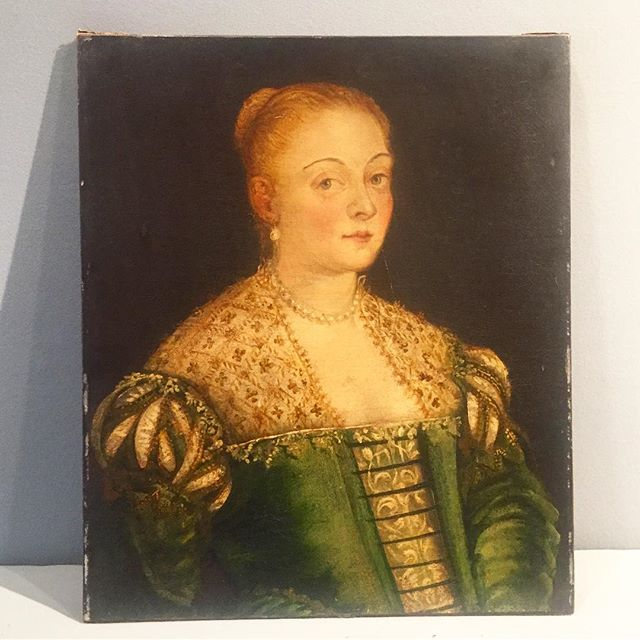 Hoping to impress her with the perfectly carved and gilt frame.  #hereslookingatyoukid #notimpressedface #refreshforspring  #tgif #readyfortheweekend
