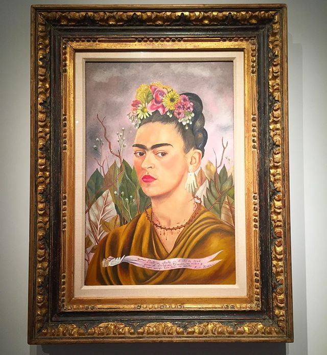 "Loving the marriage of this frame and Frida Kahlo's ""Self portrait"" 1940.  Up now @sothebys ""Now You See Me"" exhibit on the 2nd floor.  Stop by this week to see this and other works by 9 iconic female artists such as Georgia O'Keefe and Louise Bourgeois.  Show ends next Sunday, March 5th."
