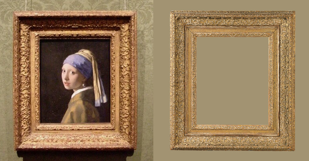 """Girl with a Pearl Earring"" by Johannes Vermeer   Louis XIII frame: Diego Salazar Antique Frames"