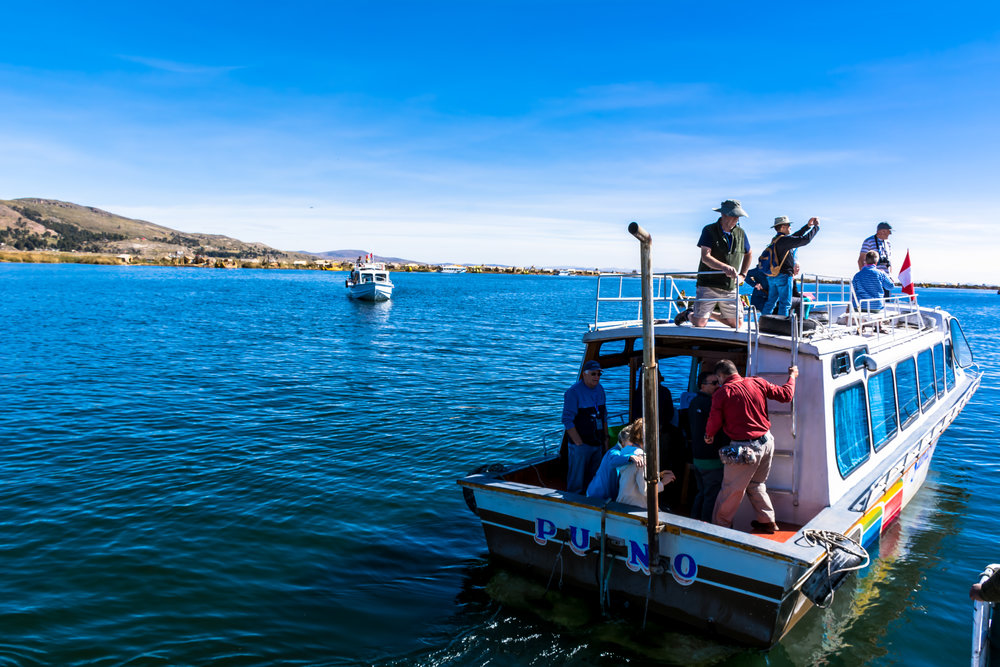 Docking at Uros Islands, Lake Titicaca, Peru